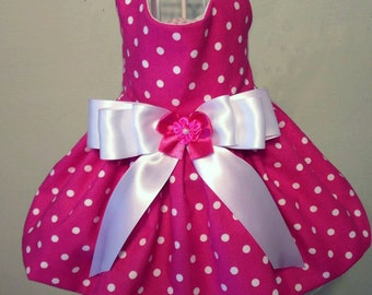Hot Pink With White Polka Dot Dog Dress