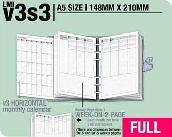 FULL [A5 v3s3 w/o daily] January to December 2018 - Filofax Inserts Refills Printable Binder Planner Midori.