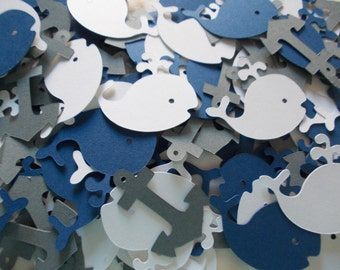 Nautical Whale & Anchor Confetti, Whale Cutouts, Navy Gray White, Party Decoration, 100 CT.