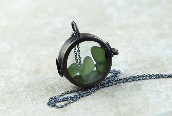 Glass Locket Necklace Real Seaglass Pendant Oxidized Sterling Silver Chain Glass Pendant Vancouver Island Beach Glass