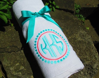Monogrammed Beach Towel /  Personalized / Embroidered/ You design it --We create it