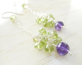 Peridot and Amethyst Earrings, Long Sterling Silver Genuine Gemstone Cluster Earrings, August and February Birthstone Jewelry Gift for Her