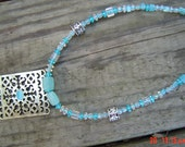 Ice blue choker crystal gold and silver tone findings  female gift OOAKHandmade Jewelry