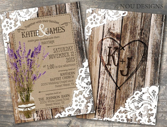 Wedding Invitations Country Theme: Wood Planks And Lace With Lavender Flowers In Mason Jar Rustic