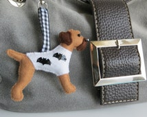 Red Grizzle Border Terrier Halloween Bats motif hand sewn felt bagcharm