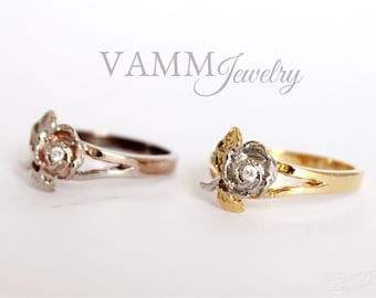 princess crown ring 14k white gold by vammjewelry on etsy