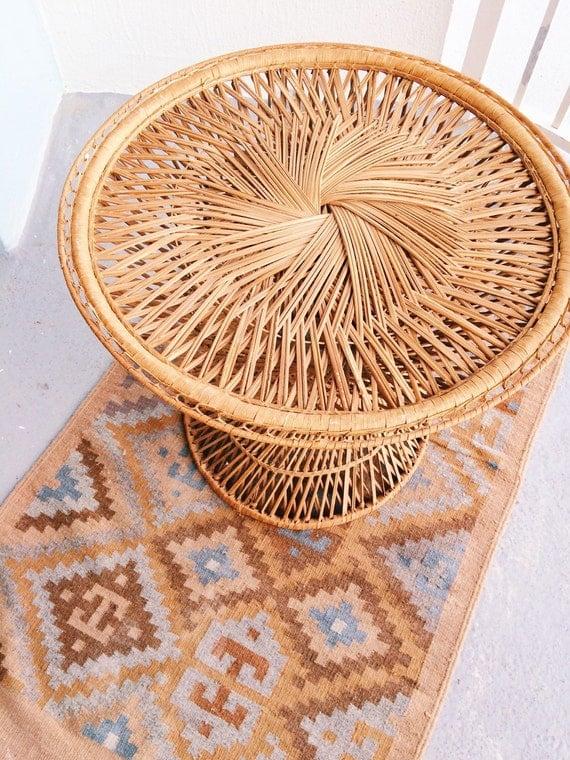 Bohemian Vintage Wicker Side Table