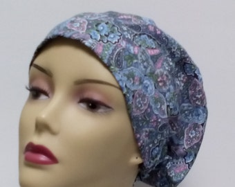 Women's scrub hats. Chemo caps.  Hats for cancer.  Nurses scrub caps.  Cancer hats and wraps. Blue paisley.  100% cotton. Size M 22-23 inch.