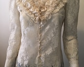 Vintage lace high collar ruffle blouse 1970s bohemian rock and roll Victorian Union made in the USA $44.00 AT vintagedancer.com