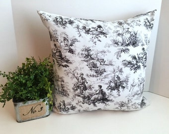 Waverly Black, Grey & White Tolie 18 x 18 Pillow Cover