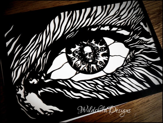 Gothic Eye With Skull Dark Alternative Paper Cutting Template