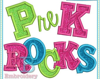 Pre K Rocks Applique - This design is to be used on an embroidery machine. Instant Download
