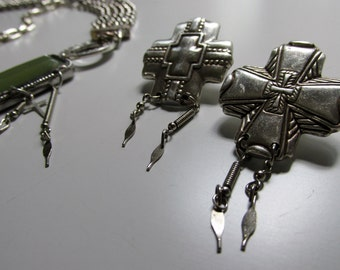 Vintage Silver Cross Post Earrings