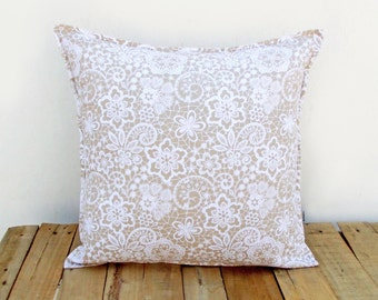 Beige throw pillow cover, lace print, cotton pillow, sizes available.