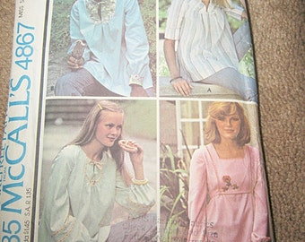 McCall's Carefree Pattern #4867, Top With Cut Lines For Maternity, Size Small, Copyright 1975