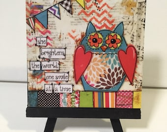 Mixed Media Owl Print, She brightens the world one smile at a time, Print and Easel Set