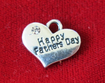 "5pc ""Happy fathers day"" charms in antique silver style (BC753)"