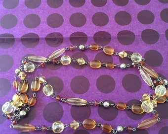 Amber Beaded Chain Necklace