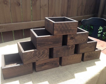 Set of Ten Rustic Wood Flower Boxes, Succulent Planter, Wedding Centerpiece Flower Boxes, Table Centerpiece
