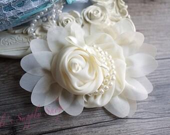 ONE Ivory Chiffon Flower W/Pearls - Flowers for Headbands - Fabric Flower - Large Chiffon Flower - Hair Accessories