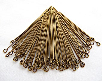 200 Bronze Eye Pins, 100 2 Inch Eye Pins, Antique Bronze, Beading Supply, 50mm Bronze Pin, Jewelry Findings, Iron Metal Pins, UK Seller