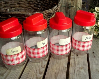 Kitchen Canisters - Set of 4 - Vintage Glass Jars - Storage Containers - Kitchen Jars - Red and White Retro Kitchen - Retro Kitchen