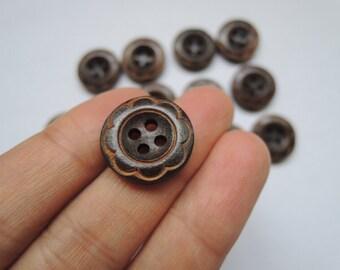 20 Pcs 18mm Brown Flower  Wood button 4 holes   (W1110)