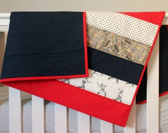 Vintage Baseball Baby Bedding - Baby Quilt - Toddler Quilt