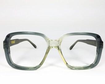 Vintage Eyeglass Frame | Blue Grey | Oversize Square Glasses  - Player