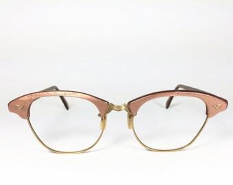 Vintage 60s Horn-Rimmed Eyeglasses | 1960s Shimmering Taupe and Gold Horn-Rimmed Glasses | NOS Eyeglass Frame | Deadstock Eyewear - Elam