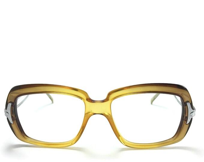 Vintage 1970s Glasses | Clear Amber Oversized Square Eyeglass Frame | NOS 1970s Eyeglasses | Vintage Deadstock Eyewear - Rock Me