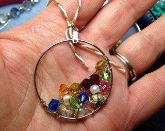 Swarovski Crystals wire wrapped in a cluster