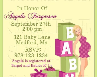 Baby Shower Invitation, Announcements,Mom To Be, Baby Blocks Pink and Green, Personalized Invite, DIY Printables, Digital Invite
