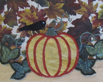 Fall table runner - fall leaves with pumpkin and black bird