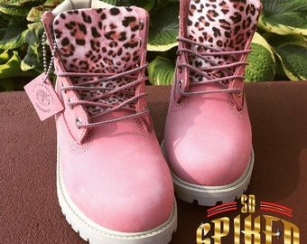 Custom  Pink Timberlands (Toddler Kids & Women) Small collar stain