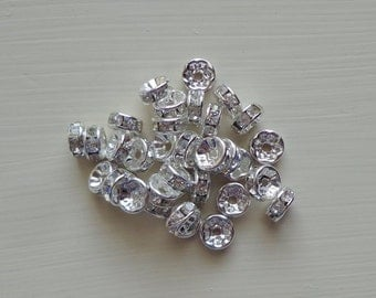 50 pc 8mm Clear Crystal Rhinestone Rondelle Silver Spacers