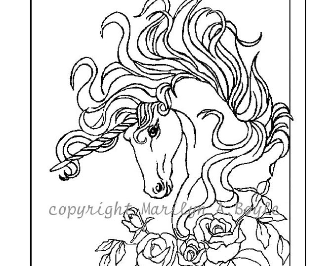 ADULT COLORING PAGE, digital download, Unicorn, roses, garden, fantasy, adult coloring,