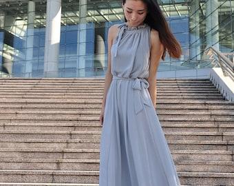 Gray Plus size Dress Sleeveless Chiffon Maxi Dress Long Dress Summer Day Dress (107), #43
