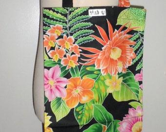 Handmade Slim Tote Bag - Yoga Mat Tote Bag - Hula Bag - Cotton Floral Patterns Red Roses and Tropical Flowers