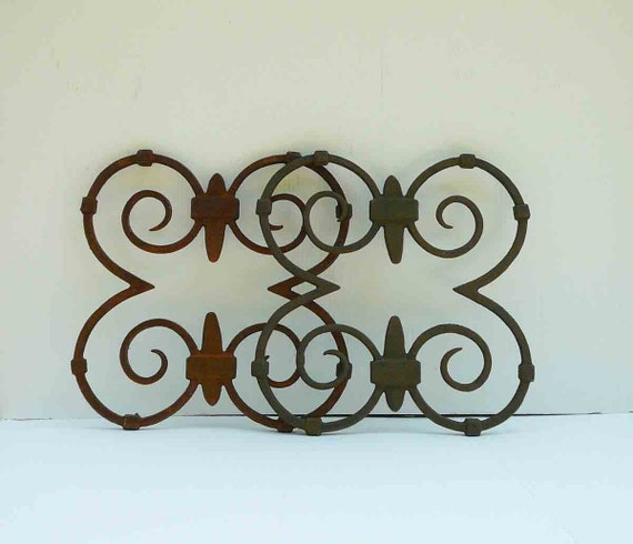 Rustic Scroll Design: Vintage Rustic Wrought Iron Scroll Set Of Four By RefinedDecor