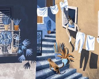 Lisbon print, Lisbon wall art, Lisbon Travel art, Portugal gifts, Portugal art print, Lisbon Alfama, travel art, blue, beige