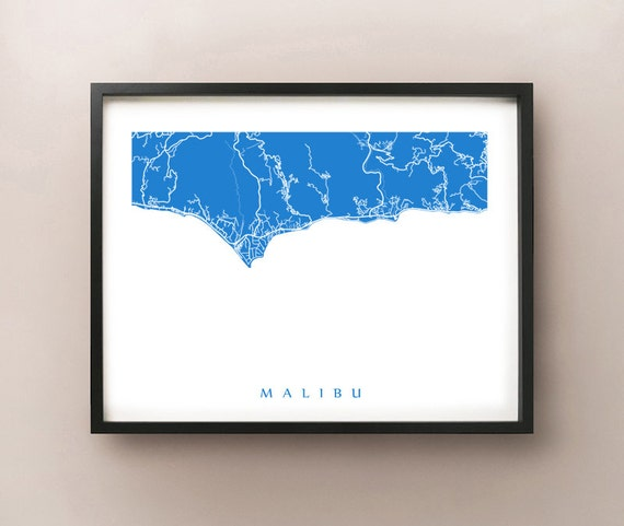 Malibu Map Print California Art Poster