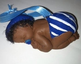 Brown Baby Boy First Ornament