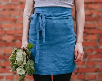 Linen Apron Teal Blue Stone Washed Baltic Linen Cafe Apron With Pockets