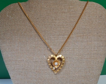 CLEARANCE Gold Heart and Pearl Necklace