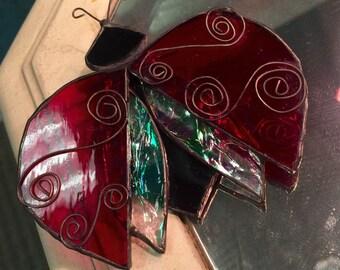 Ladybug Stained Glass Decorative Sun Catcher