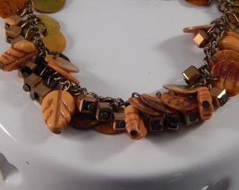 autumn leaves charm bracelet, fall brass jewelry - handmade bracelet with beech leaves, cube charms and discs - unique jewelry gift - orange