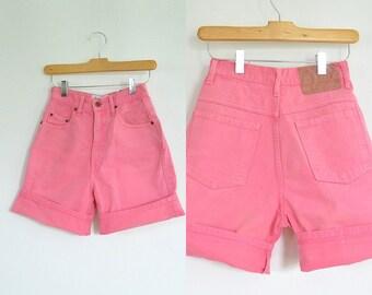 High Waist 80's Vintage  Bright  Pink Denim Shorts Beverly Hills Compagnie De International