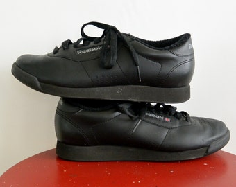 Classic Reebok Princess Sneakers Black Lace up Reebok Tennis Shoes Normcore Sneakers Women's 8
