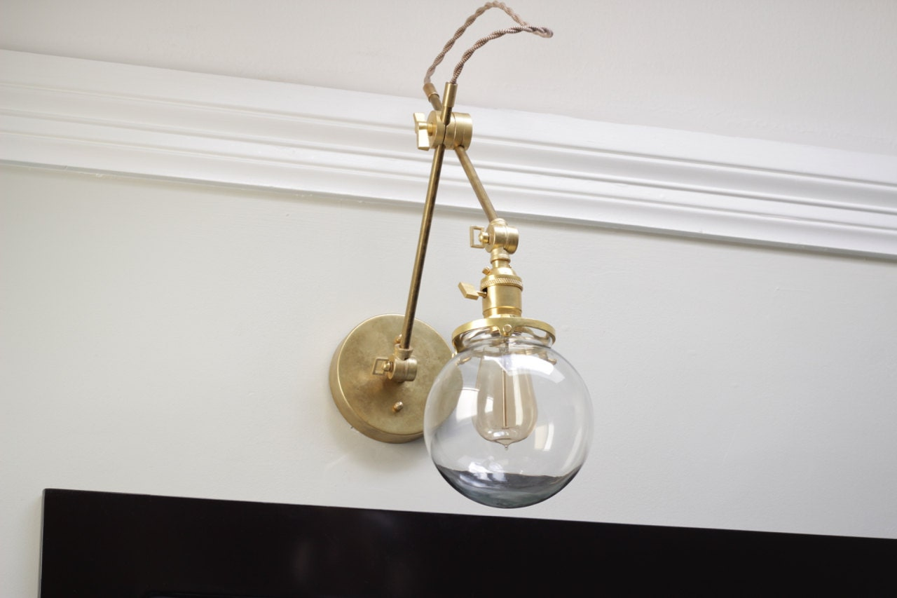Brass Articulating Adjustable Industrial Wall Lamp With 6